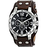 Akribos XXIV Men's AK727SSB Chronograph Quartz Movement Watch with Black Dial and Brown Genuine Leather Strap