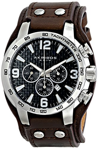 - Akribos XXIV Men's AK727SSB Chronograph Quartz Movement Watch with Black Dial and Brown Genuine Leather Strap