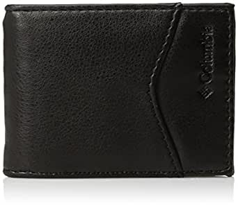 Columbia  Men's  Leather Slim Front Pocket Wallet with ID Window,Black