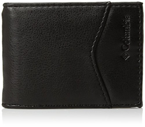 Leather Columbia (Columbia Men's Leather Slim Front Pocket Wallet with ID Window,Black)