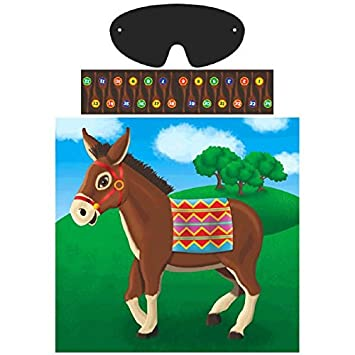 """Amscan Carnival Fair Fun Pin The Tail On The Donkey Game Party Activity Multicolor 17"""" X 17 1/4"""" TradeMart Inc. 4976"""