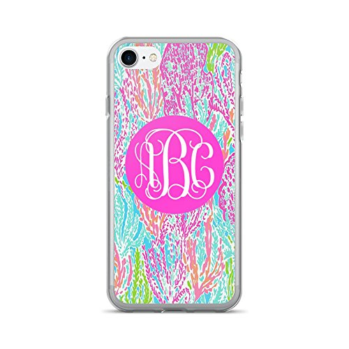 Custom Monogrammed   Lilly Inspired Print   Iphone 7 Or 8 Case  Coral Reef