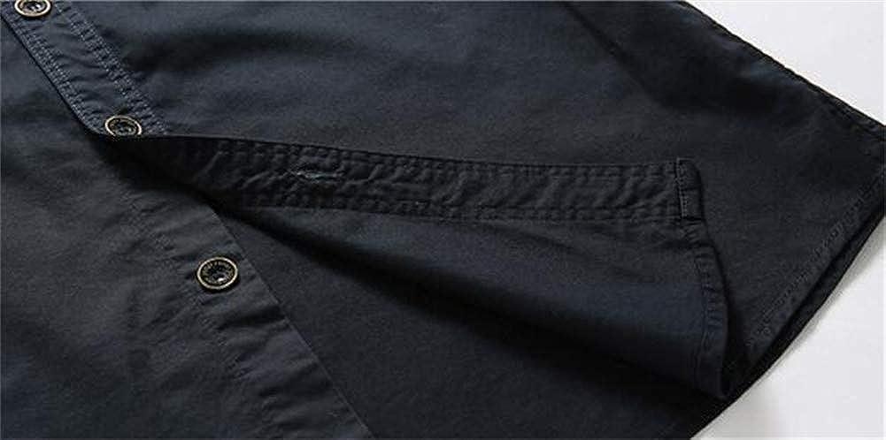 Mens Button Short Sleeve Work Casual Denim Shirt Summer Beach Top