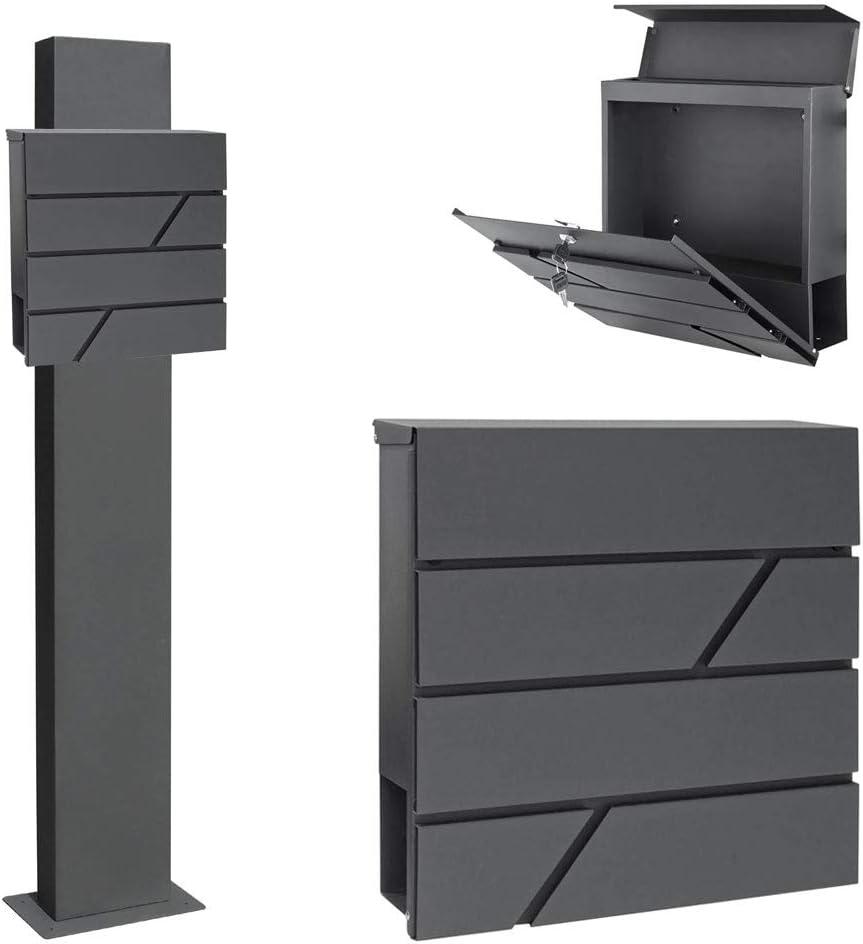 Edelstahl Briefkasten Set Standbriefkasten St/änder Zeitungsrolle Freistehend Anthrazit V2Aox Auswahl mit Klingel Ausf/ührung:6
