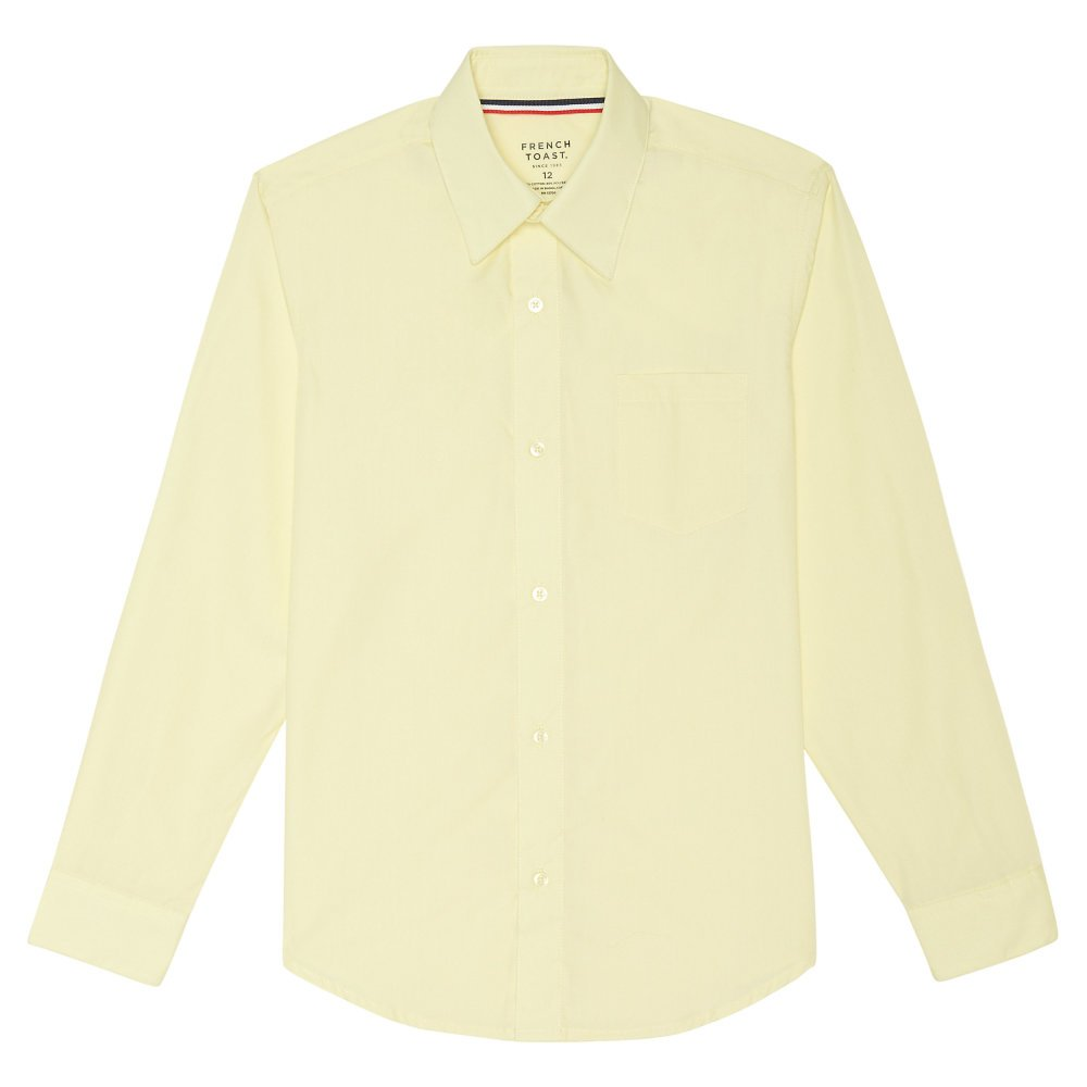French Toast - Big Boys' Husky Long Sleeve Poplin Dress Shirt Style E9004, Yellow 34149-20Husky