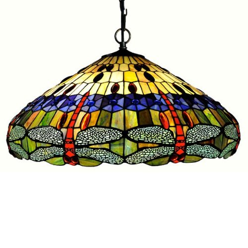 Chloe Lighting CH24001HL 3 Light Dragonfly Hanging Large Pendant (Large Lamp Tiffany Pendant)