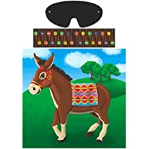 """Amscan Carnival Fair Fun Pin The Tail On The Donkey Game Party Activity, Multicolor, 17"""" X 17 1/4"""""""
