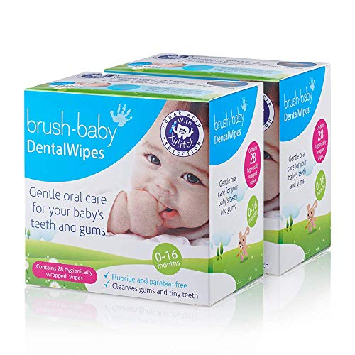 Brush Baby Teething Relief Dental Wipes for Ages 0-Toddler – Naturally Eliminate Teething Pain, Prevent Tooth Decay and Sour Milk Breath – 28 Finger Wipes (2-Pack)