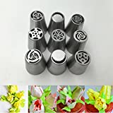9pcs Russian Tulip Nozzle Perfect for Cake Cupcake Decorating Icing Piping Nozzles Rose Nozzles Tips