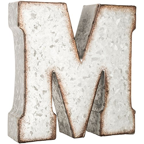 (Generic Galvanized Metal 3D Letter M,Grey Metal )