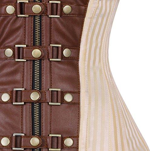 Corsé crema y marrón con cierre y correas Steampunk 123 blanco