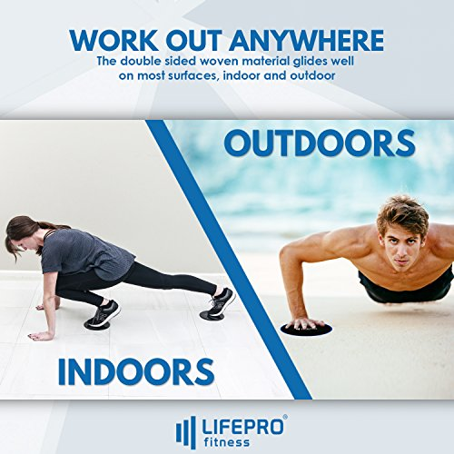 LifePro Core Exercise Sliders Gliding Discs - Fitness Equipment for Low Impact, Full Body and Ab Workout - Dual Sided Slides on Any Floor - Free Manual, Personal Training Home Videos & Storage Bag by LifePro (Image #1)