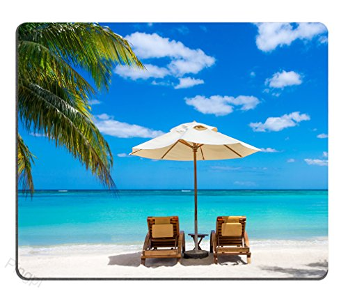 Pingpi Idyllic white beach in front of the turquoise tropical sea Mouse pad Gaming Mouse pad Mousepad Nonslip Rubber Backing ()