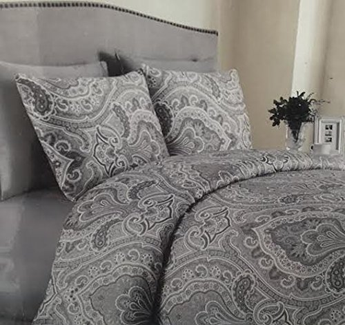 Paisley Copper (Copper Loom King Duvet Cover Set, Grey Paisley)