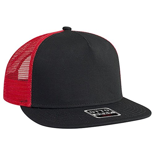 OTTO Round Flat Visor SNAP 5 Panel Mesh Back Trucker Snapback Hat - Blk/Blk/Red ()