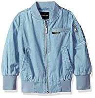 Members Only Girls' Little Cotton Bomber Jacket, Chambray, 5/6