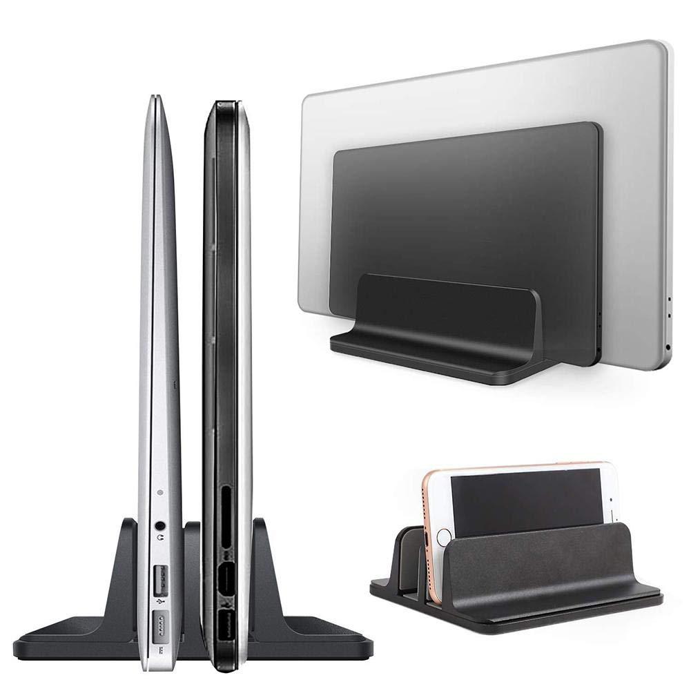 TODAYTOP Verstellbarer Vertikaler Laptop-Stä nder mit Mehreren Steckplä tzen aus Aluminiumlegierung fü r den Schreibtisch