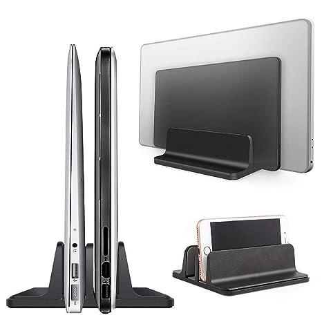 TODAYTOP - Soporte Vertical Ajustable para Ordenador portátil con múltiples Ranuras de aleación de Aluminio