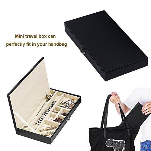 BEWISHOME Jewelry Box Organizer Case Display Storage W/Travel Case Large Mirrored 10 1/4'' x 7 1/16'' x 6 11/16'' Black PU Leather for Girls Women SSH53B by BEWISHOME (Image #4)