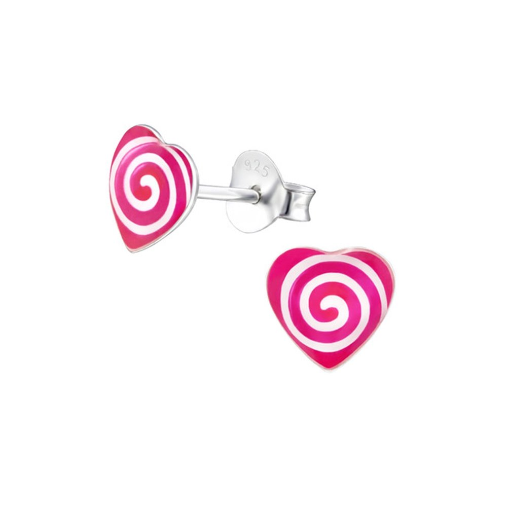 Girls Spiraling Heart Colorful Ear Studs 925 Sterling Silver