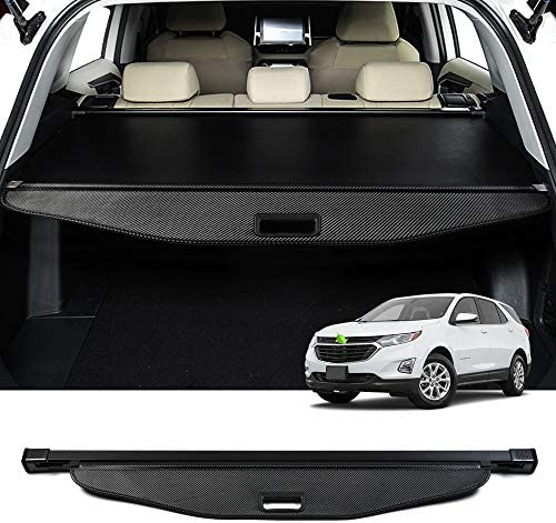 Powerty Retractable Cargo Cover for GMC Terrain Chevrolet Equinox 2018 2019 2020 Trunk Shielding Shade Cargo Luggage Cover Carbon Fiber Texture