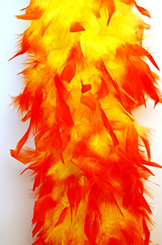 80 Gram Chandelle Feather Boa 2 Yards - YELLOW w/ ORANGE Tips