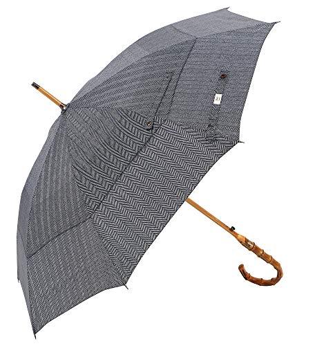 (UK Designed-Balios Prestige Walking Stick Umbrella-Bamboo Handle-Double Canopy (Herringbone) )