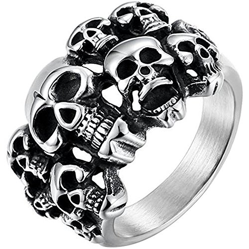 (Men's Vintage Classic Gothic Embossed Skull Biker Stainless Steel Ring Band Silver Black Size 9)
