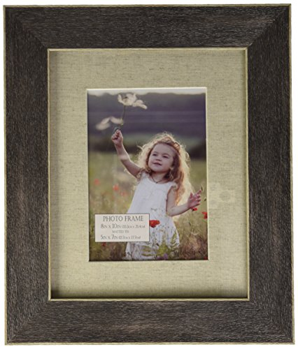 (Darice Gray Distressed Wood Frame: Linen Mat, 8 X 10