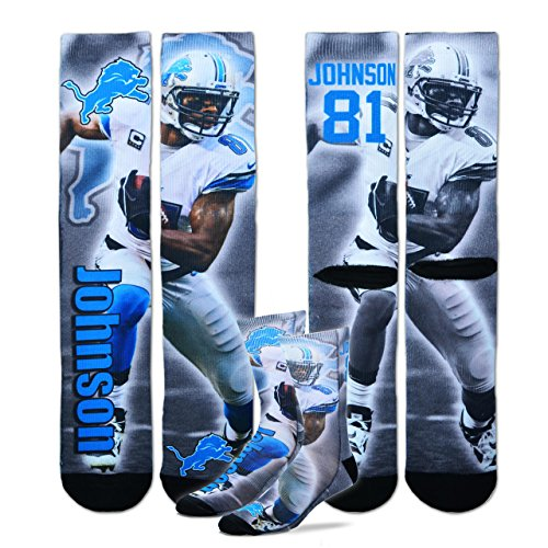Detroit Lions Adult Calvin Johnson Player Sock - Gray #81 ,
