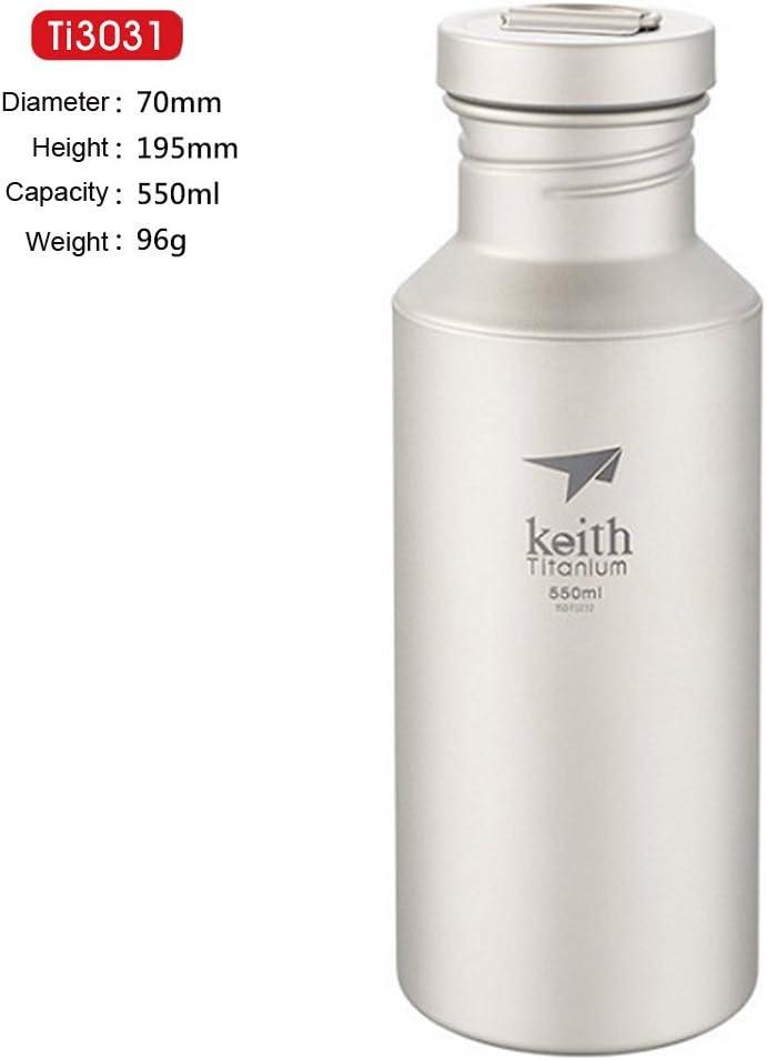 Goodworldtrade Keith Super Fuerte y Botella de Agua con Tapa de Titanio de Titanio Ligero al Aire Libre portátil Deporte Ciclismo Botella de vacío 400ml/550ml/700ml (13.5oz/18.6oz/23.6oz)