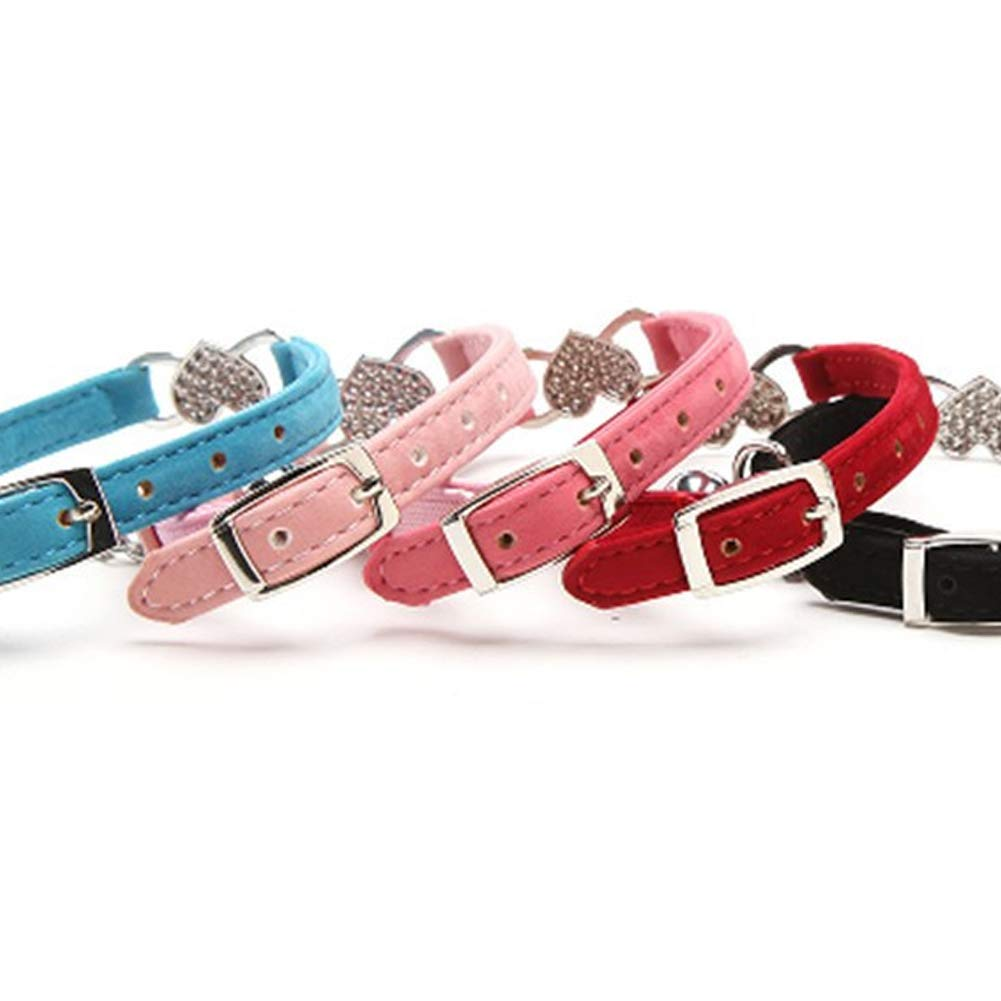 kleinen Haustierbedarf NaiCasy Einstellbare Hundehalsband Fancy Love Heart Strass Samt Hundehalsband Halsband mit Glocke Anh/änger Hellrosa