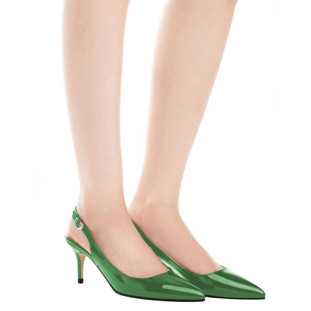 EKS Frauen Spitzschuh Mid Heels Slingback Patent Gr¨1n Kleid Party Pumps Schuhe Gr¨1n Patent 2dd46b