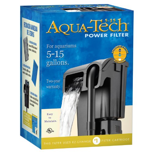 AquaTech Power Aquarium Filter, 5 to 15-Gallon - Turtle Small Land Charm