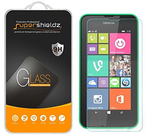 (2 Pack) Supershieldz for Nokia Lumia 635 and Lumia 630 Tempered Glass Screen Protector, Anti Scratch, Bubble Free (630 Lumia Screen Protector)