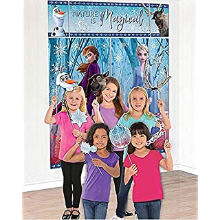 """Amscan Nature Is Magical Frozen 2 Birthday, Party Scene Setter with Props, 75"""" x 64"""", 17 Ct, Multicolor"""