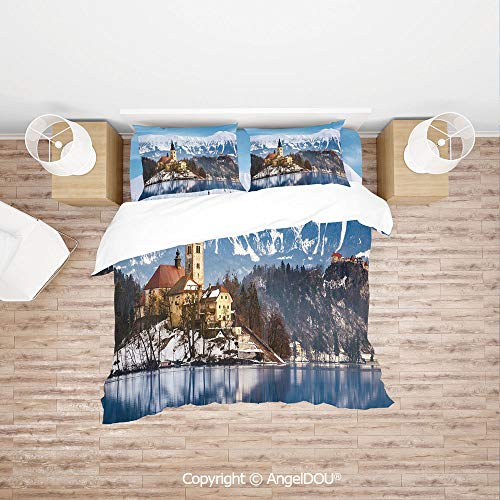 PUTIEN Durable Lightweight Fabric Printing Custom Bedding Set,Lake Bled in Slovenia Scenes from Europe Travel Destination Ancient Places Photo Decorative,Quilt Cover for Women Men Bedroom.