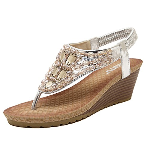 On Romanas Flip Slip Cuña Sandalias Silver Rhinestone Verano Tangas Beach Zapatillas Boho Shoes Señoras De Flops Pool YnHpgwq