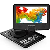 COOAU Portable DVD Player 11.5' with Game Joystick, Swivel HD Screen 9.5', Support Multi-Format, Region Free, Long Lasting Battery with Power Adapter & Car Charger, Support AV-in/AV-Out/SD/USB, Black