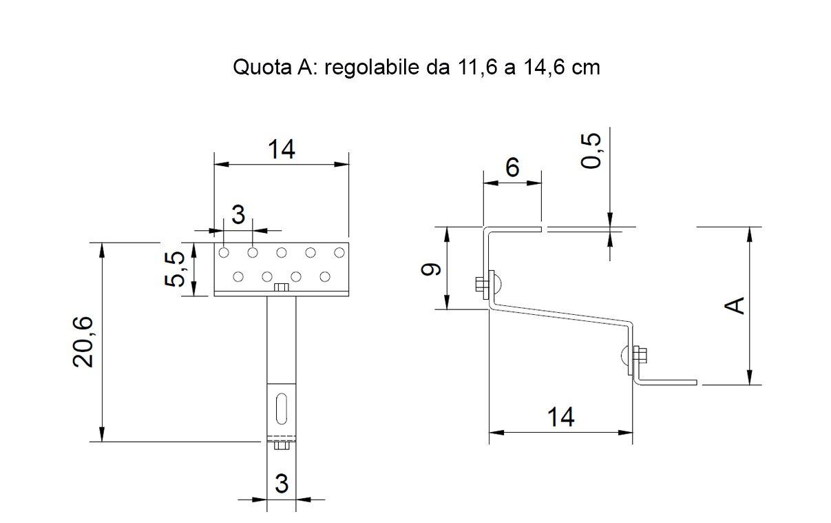 4 Staffa gancio regolabile per installazione pannelli solari fotovoltaico solare termico soprategola