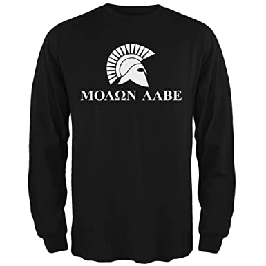 5e2957692b2 Amazon.com  Old Glory Molon Labe Helment Black Adult Long Sleeve T ...