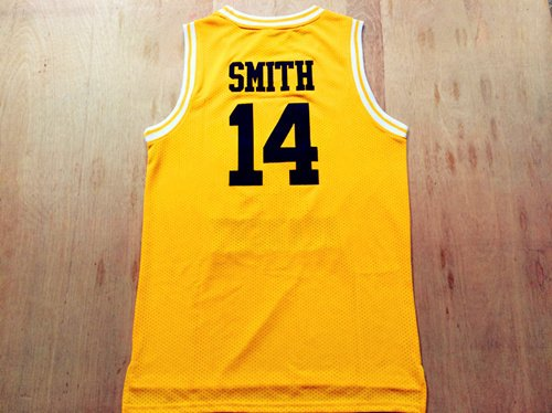 Fresh Prince Jersey 14 Will Smith Jersey Yellow Bel-Air Academy Basketball Jerseys Stitched (Golden, Large)
