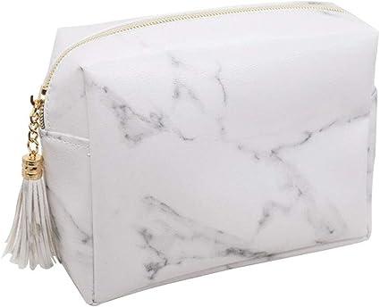 YSoutstripdu - Estuche para maquillaje y cosméticos, diseño de borla de mármol: Amazon.es: Belleza