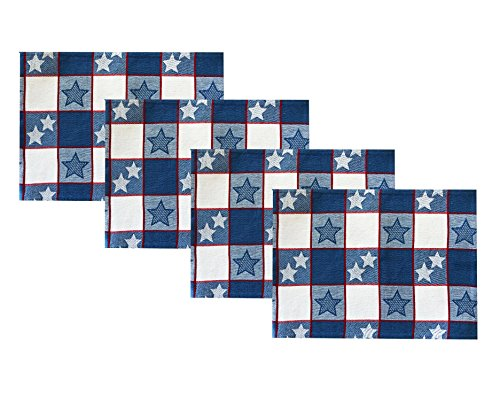 Americana Patriotic Star and Stripes Cotton Jacquard Weave Fabric Place Mat Set, Festive Red, White and Blue Heavy Weight Placemats by Lintex, Set of 4 Place - Stripe Americana