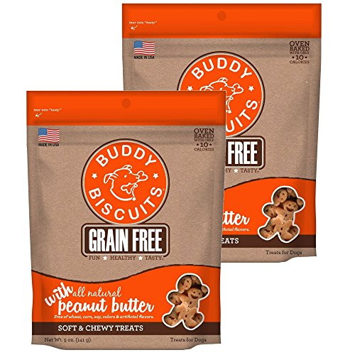 Cloud Star Buddy Biscuits Grain Free Soft & Chewy Dog Treats with All Natural Peanut Butter (2 Pack) 5 oz Each by Cloud Star