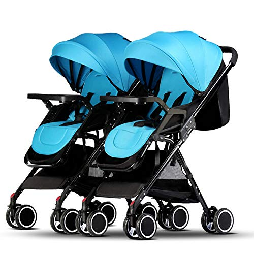 Twin Portable Baby Stroller Contours Curve Tandem Double Stroller Toddlers Or Twins – 360° Turning, Multiple Seating Options,Green