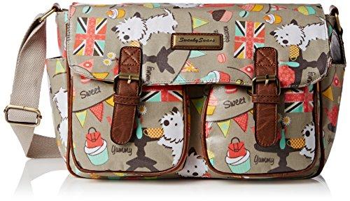 SwankySwansBiba Dog Cupcake Party Classy - Borsa a tracolla donna Grigio (Grigio (Grey))