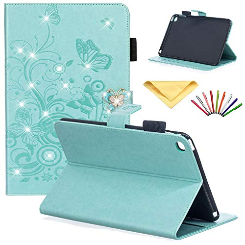 iPad Mini 4 Case, Uliking Bling Diamond Crystal Rhinestone Embossed Flower PU Leather Folio Stand Wallet with Card Pocket Pencil Holder Magnetic TPU Back Shell for Apple iPad Mini 4, Green Butterfly