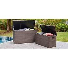 Direct Wicker Outdoor Brown Wicker Storage Deck Box Patio Chic Garden Furniture (Large-296 Gallons)