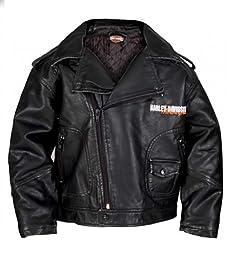 Harley-Davidson Little Boys\' Upwing Eagle Biker Pleather Jacket Blk 0386074 (7)